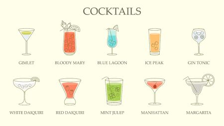 Set of line drawings of different cocktails in assorted shaped glasses with explanatory text below over an off white background. Vector illustration Illustration