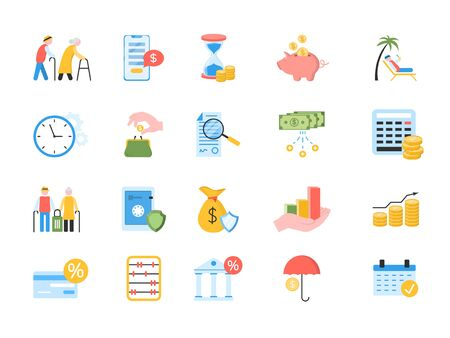 Large set of colored icons for pension and retirement planning with financial, banking, charts, graphs, money, old age, pension, planning and credit card over white, vector illustration