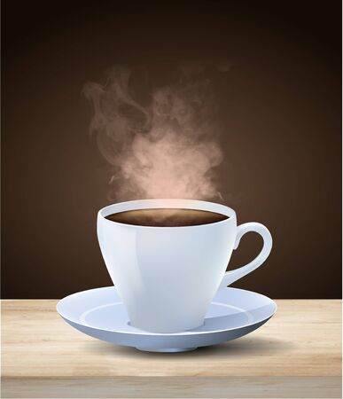 Hot steaming cup of espresso coffee in a generic white cup and saucer on a wooden table over a dark brown background, colored vector illustration