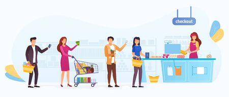 File d'attente des acheteurs dans un supermarché