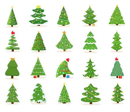 Large set of decorated green Christmas tree icons in different shapes and designs for use as vector design elements on white Ilustração