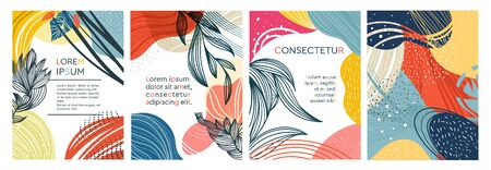 Set of four abstract colorful foliate designs, three as frames with central copy space, vector illustration