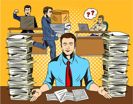 Overworked stressed businessman relaxing practicing yoga in the office, meditating with closed eyes to de-stress flanked by two tall stacks of waiting documents in trays in a vector illustration