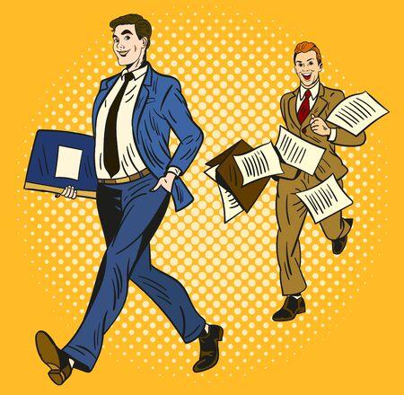 Deux hommes d'affaires de dessins animés sur fond jaune, l'un intelligent et organisé portant une mallette et le second se précipitant derrière avec des papiers volant partout