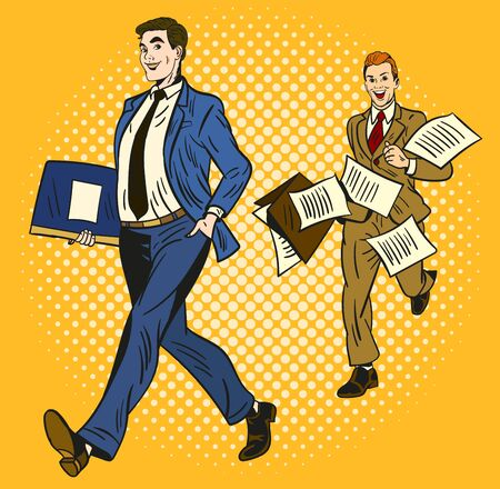 Two cartoon businessmen over a yellow background, one smart and organised carrying a briefcase and the second rushing along running behind with papers flying everywhere