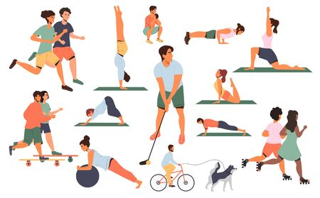 Large collection of colored sports poses or activities with men and women running, doing assorted exercises in a gym, skateboarding, pilates, yoga, golf, jogging, vector illustrations on white
