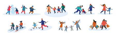 Conjunto de ocho actividades familiares diferentes en invierno.
