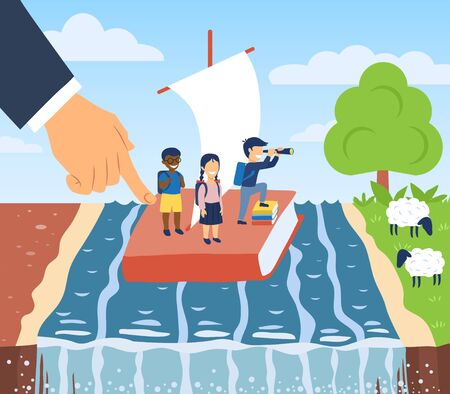 Education poster with kids on a book raft