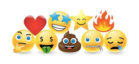 Set of emoticon design elements on white
