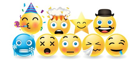 Set of colorful emoticons with expressive faces