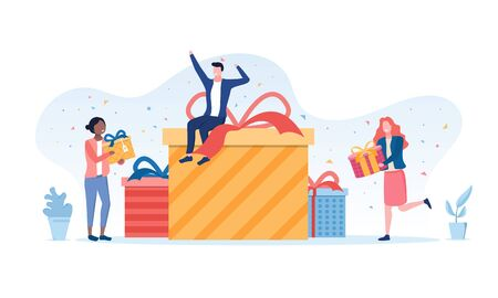 Gift giving concept with multiracial people forming a large pile of decorative presents in the center by adding gifts, vector illustration 일러스트