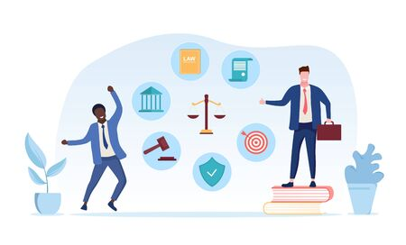 Legal services of a lawyer concept with two lawyers one standing on his law books, second celebrating victory in court and icons around scales of Justice, vector illustration