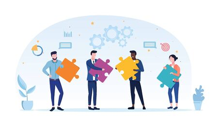Teamwork concept with a group of business colleagues holding different jigsaw puzzle pieces needed to solve a problem by cooperation, vector illustration on white