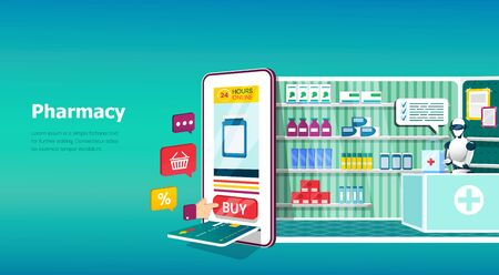 Online pharmacy and medicine concept