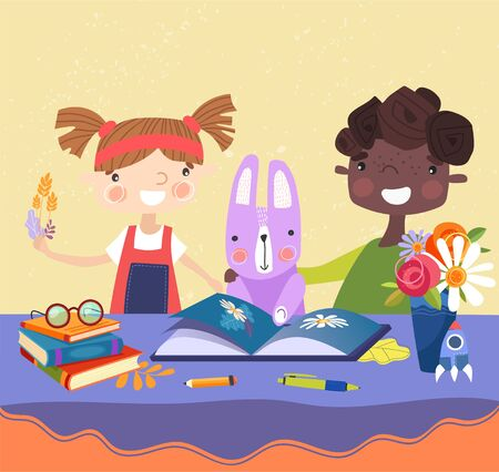 Two young multiracial kids, a boy and girl, reading a picture book with their rabbit seated at a table, colored, vector illustration