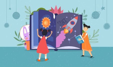 Two young children reading a space fantasy book