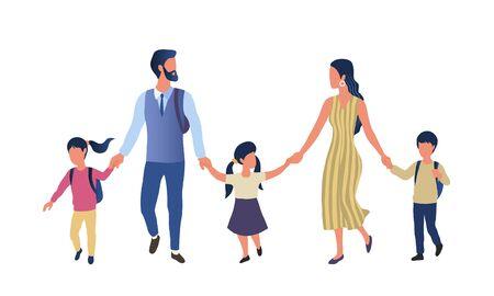 Young parents taking their children to school Vector Illustratie
