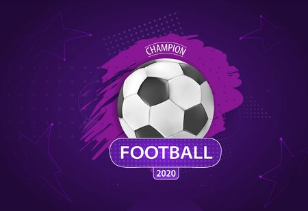 Football cup. Ball graphic design on a violet background with spots. Stylish background. vector illustration. Vectores
