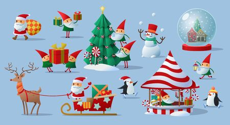 Colorful festive collection of Christmas Santa Claus and his elves doing different activities associated with the holiday season over a cool blue background, vector illustration