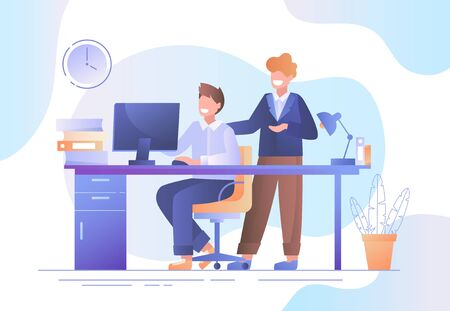 Two businessmen working together in an office discussing data on a desktop computer monitor in a teamwork concept, colored vector illustration