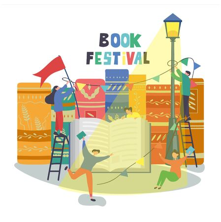 Book festival poster design with people celebrating and putting up promotional bunting and flags above an open book against a background of book spines with colorful text above, vector illustration Illusztráció