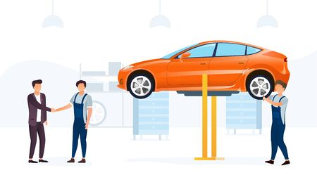Car service concept with car on hoist Illustration