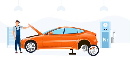 Mechanic doing a car service changing a tyre and working under the bonnet or hood in a garage workshop, vector illustration
