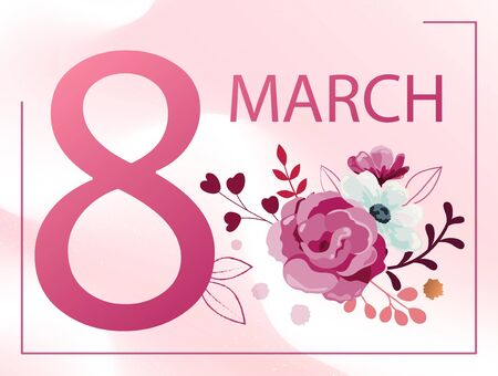 8 March Womans's Day card or poster design with bunch of pink and white spring flowers over an abstract matching pink and white background with number 8, vector illustration