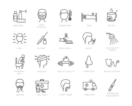 Large collection of flu and medical icons