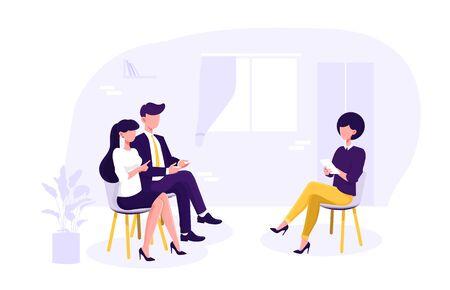 Female family psychologist counselling a couple Vektorové ilustrace