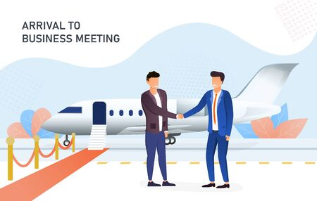 Businessmen shaking hands in the airport Illustration
