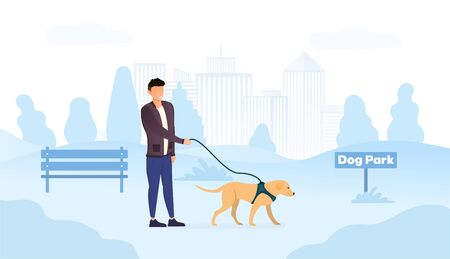 Male owner walking his dog in a harness in special dog park place in the city 일러스트