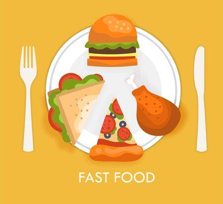 Fast food poster concept on yellow background Ilustração