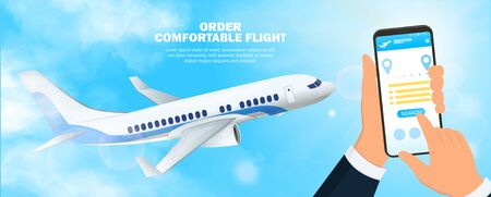 Businessman hands ordering flight tickets on mobile phone app concept poster, with a plane in the sky. Tourism and business travel aviation concept poster on blue background Ilustracja
