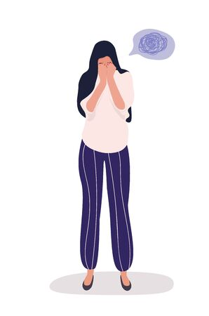 Full length front portrait of sad woman, standing and crying, trying to run away from the problems in her life. Her twisted thoughts in the bubble. Vector flat image isolated on white