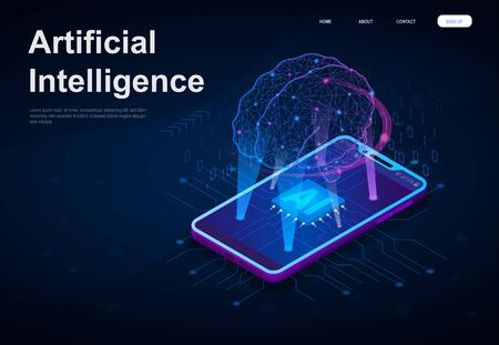 Artificial Intelligence or AI concept with a network style brain suspended above a digitial device beaming down data to the screen, vector illustration
