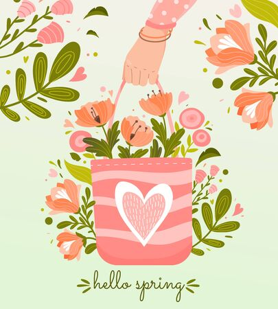 Hello Spring poster or greeting card design