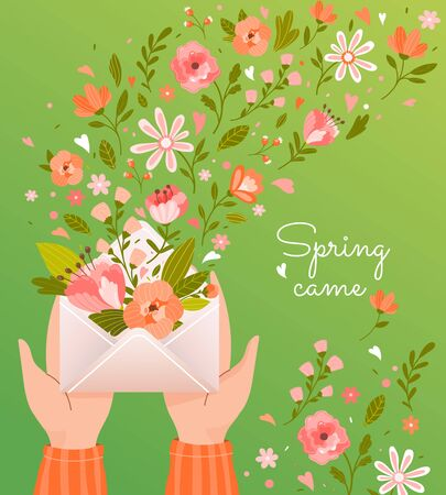 Pretty square card or poster design - Spring Came - with flowers floating from an envelope held in cupped hands over green, vector illustration