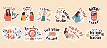 Set of feminism stickers