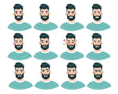 Large set of male emoticons with bearded man Illustration