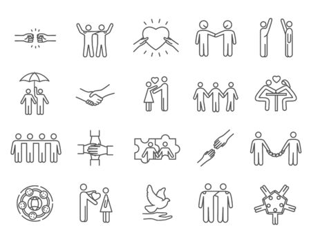 Large set of black and white line drawing friendship icons holding hands, with hearts for love, dove of peace, sharing umbrella, teamwork, high fives and fist bumping, vector illustration Illustration