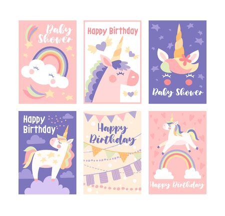 Pretty muted birthday cards with unicorns Standard-Bild - 142651123