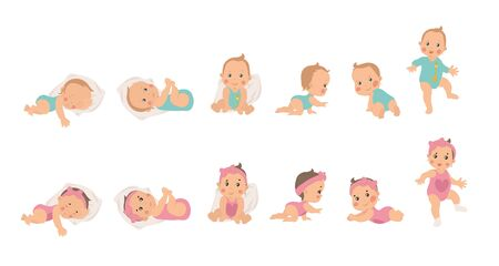 Set of young baby health and development icons for a boy and girl from newborn to sitting, crawling and finally waking, vector illustrations isolated on white Ilustración de vector