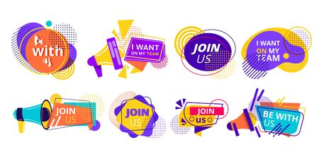 Promotional recruiting stickers for a Team in bright colorful designs with text over white as design elements, vector illustration