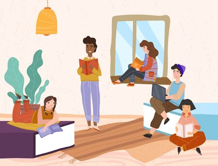 Group of diverse friends relaxing with books 向量圖像