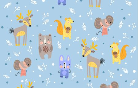 Pattern of forest animals on cool blue background
