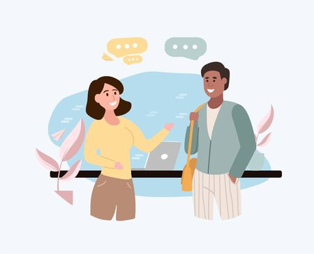 Two young multiethnic friends, a young man and woman, meeting standing chatting and smiling with speech bubbles, vector illustration Vecteurs