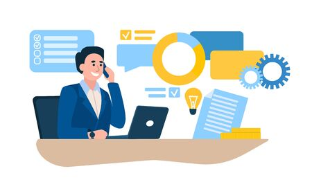 Work Day concept with businessman at his desk