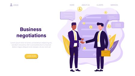 Illustrated business negotiation concept with men shaking hands. 矢量图像