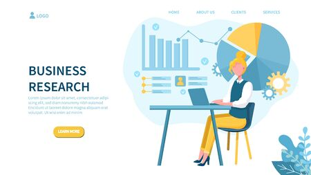 Illustrated business research concept with woman on laptop and various graphs.